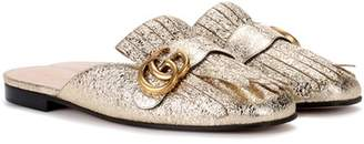 Gucci Metallic leather slippers