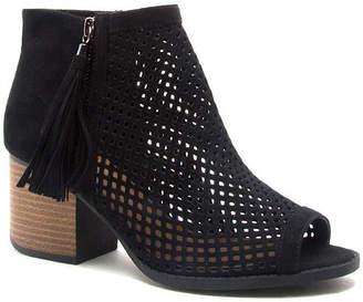 Qupid Womens Core-18 Bootie Stacked Heel Zip