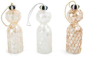 Mackenzie Childs Asst. of 3 Glass Tassel Ornaments - Gold/White - MacKenzie-Childs