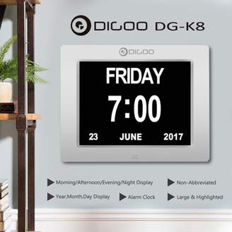 mtqsun Digoo DG-K8 8 inch LCD Display Memory Loss USB Charge Large Digital Alarm Clock CalendarHome Office Desk Table Wall Mount Week 12/24 Time Consumer Electronics Date Display3 Alarm Setting Option