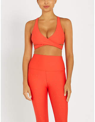 Beach Riot Knox wrap-over stretch-jersey crop top