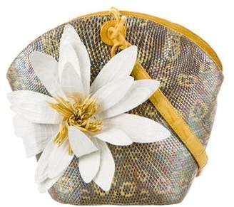 Nancy Gonzalez Karung Metallic Floral Appliqué Crossbody Bag
