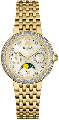 Bulova Diamonds Womens Diamond-Accent Moon Phase Gold-Tone Stainless Steel Bracelet Watch 98R224 $412.50 thestylecure.com