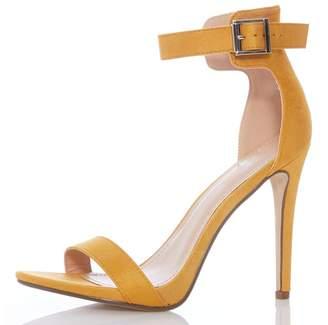 Quiz Mustard Faux Suede Buckle High Heels