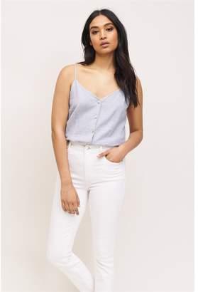 Dynamite Alexis Button Up Linen Cami Slate Blue