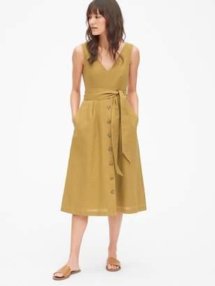 Gap Button-Front Midi Dress in Linen