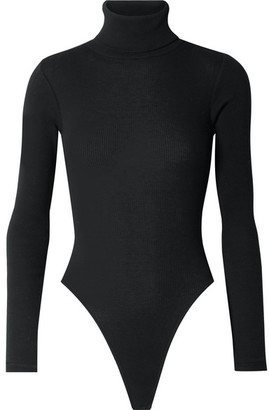 RE/DONE Ribbed Stretch-cotton Jersey Turtleneck Thong Bodysuit - Black