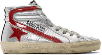 Golden Goose Silver and Red Glitter Slide High-Top Sneakers