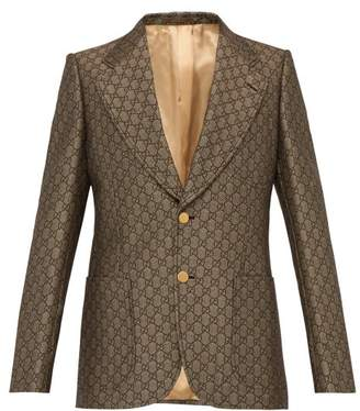 Gucci Gg Monogram Single Breasted Suit Jacket - Mens - Beige