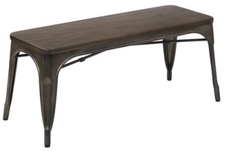 Office Star OSP Designs by Products Indio Bench with Matte Gunmetal Frame and Vintage Ash Walnut Finish Seat