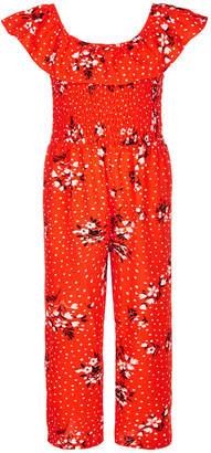 Sequin Hearts Big Girls Smocked Printed Jumpsuit