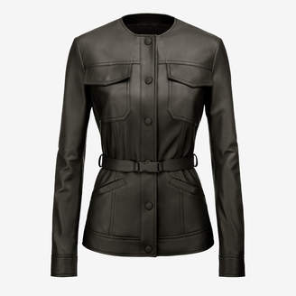 Bally Belted Nappa Jacket Black, Women's nappa leather jacket in black