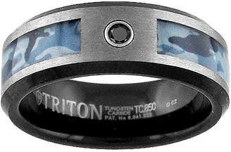 Black Diamond MODERN BRIDE Unisex 8mm Diamond Accent Genuine Tungsten Round Wedding Band