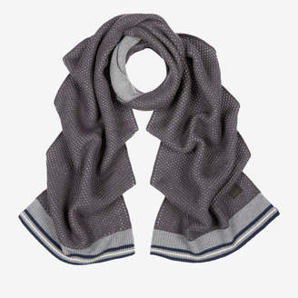 Bally Cable Knit Scarf Grey, Men's wool and cashmere blend scarf in multi-grey