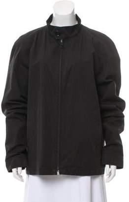 Burberry Nova Check-Trimmed Zip-Up Coat Black Nova Check-Trimmed Zip-Up Coat