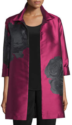 Caroline Rose Rio Rose Open-Front Party Jacket, Deep Pink/Black, Plus Size