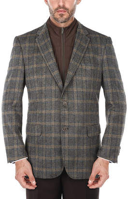 VERNO Men's Glen Plaid Wool-blend Blazer with Removable Bib