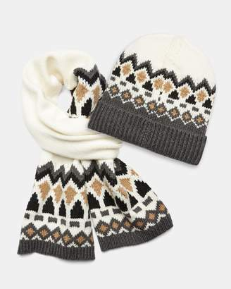 Theory Wool Fair Isle Scarf and Beanie Set