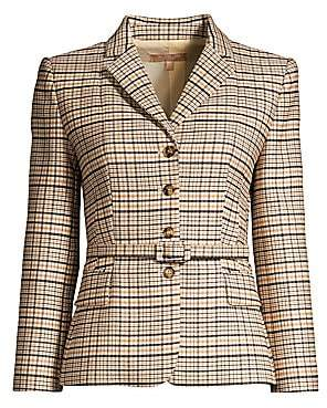 Michael Kors Women's Belted Plaid Stretch Wool Blazer - Size 0