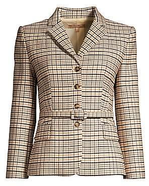 Michael Kors Women's Belted Plaid Stretch Wool Blazer - Size 0