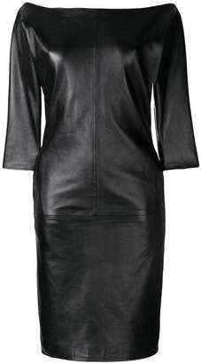 DSQUARED2 off-shoulder leather dress