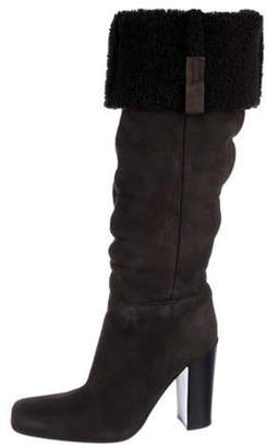 Prada Suede Shearling Lined Knee-High Boots Brown Suede Shearling Lined Knee-High Boots