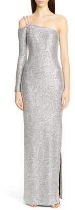 St. John Statement Asymmetrical One-Shoulder Sequin Knit Gown