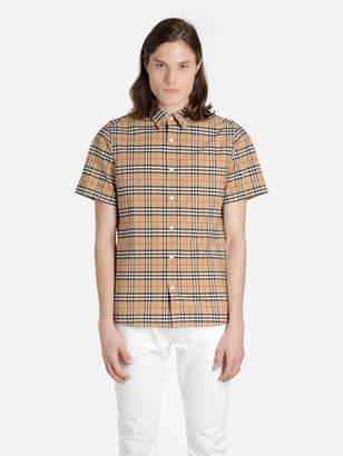 65939162c832 Burberry MEN S MULTICOLOR SHORT-SLEEVE CHECK STRETCH COTTON SHIRT
