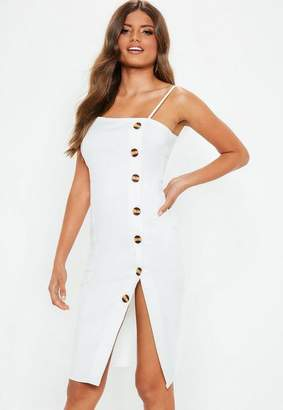Missguided White Strappy Button Front Midi Dress