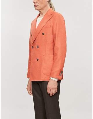OSCAR JACOBSON Erik regular-fit double-breasted wool and cashmere-blend blazer