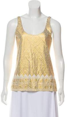 Tory Burch Metallic Embroidered Top