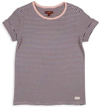 7 For All Mankind Girls' Ribbed & Striped Tee