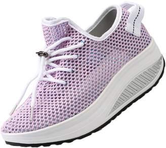 Fly London KUIBU Women Lightweight Sports Breathable Mesh Lace Slip-On Platform Shoes weave Low Heel Sneaker