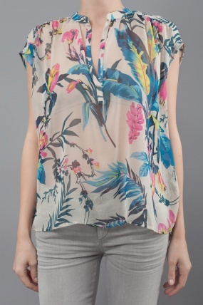 Twelfth St. By Cynthia Vincent by Cynthia Vincent Casual Printed Floral Blouse Tropical