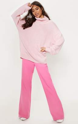 PrettyLittleThing Pink High Neck Fluffy Knit Jumper
