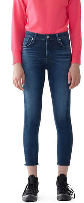 A Gold E Agolde Sophie High-Rise Cropped Raw-Hem Skinny Jeans