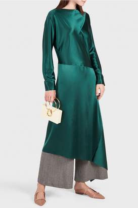 Cédric Charlier Asymmetric Emerald Long Sleeve Dress