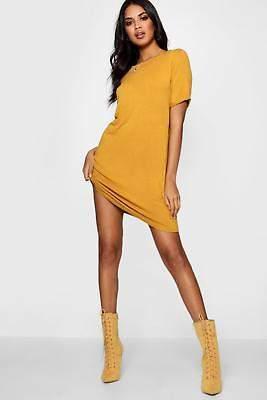 boohoo NEW Womens Turn Back Cuff Shift Dress in Viscose 5% Elastane