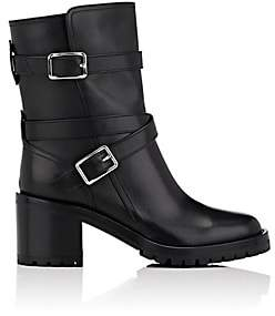 Gianvito Rossi Women's Buckled-Strap Leather Ankle Boots-Black