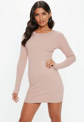 Missguided Nude Ribbed Bodycon Mini Dress