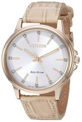 Citizen Women's Croc Embossed Leather Strap Watch, 37mm