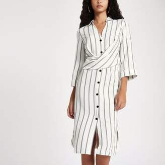 Womens Pink stripe twist front midi shirt dress River Island 5JdQEY