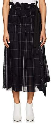 Sacai Women's Checked Pleated Organza Midi-Skirt