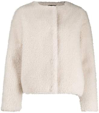 Paul Smith faux-fur collarless jacket