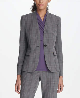 DKNY Collarless Plaid Menswear Jacket