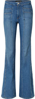 Veronica Beard Farrah Paneled High-rise Flared Jeans - Blue