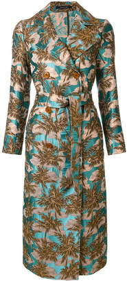 Tagliatore tropical print trench coat