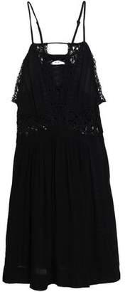IRO Lattice-trimmed Crochet-paneled Crepe Mini Dress