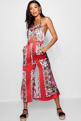 boohoo Kezia Halterneck Scarf Print Culotte Jumpsuit
