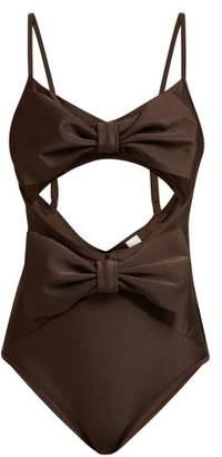 Zimmermann Bow Corsage Swimsuit - Womens - Dark Brown